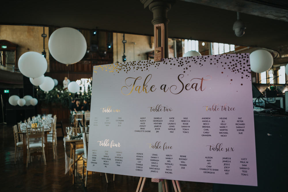 Table Plan Seating Chart Gold Stationery Easel Albert Hall Manchester Wedding Katie Dervin Photography