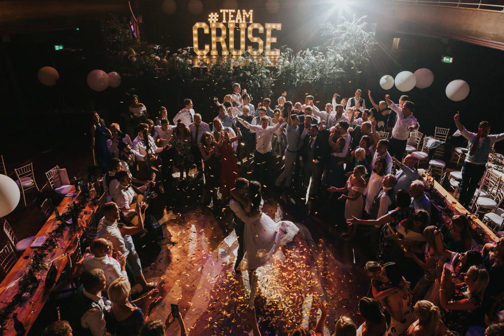 Pronovias Dress Gown Fit and Flare Embellished Sparkle Long Train Mismatched Suit Groom Confetti Cannon Albert Hall Manchester Wedding Katie Dervin Photography
