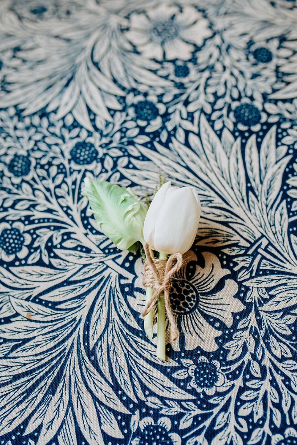 Buttonhole Tulip Twine Blue Gold Wedding Ideas Ailsa Reeve Photography