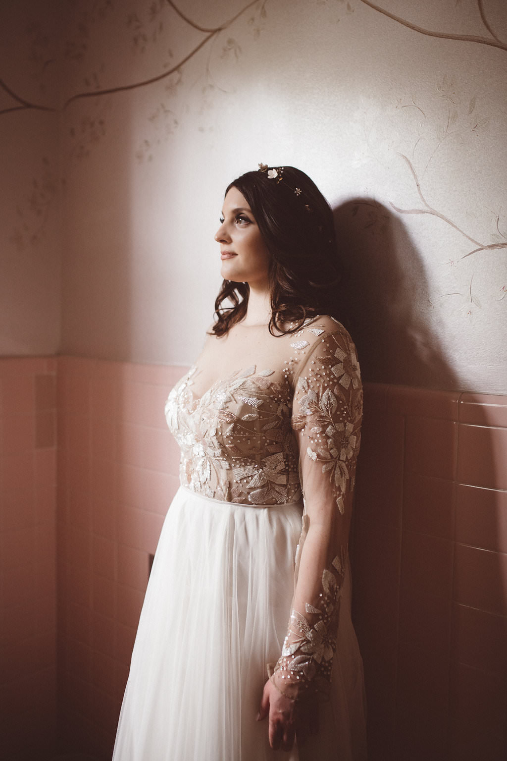 Bride Bridal Dress Gown Hayley Paige Long Sleeves Tulle Skirt Charleston Wedding Katherine Dalton Photography