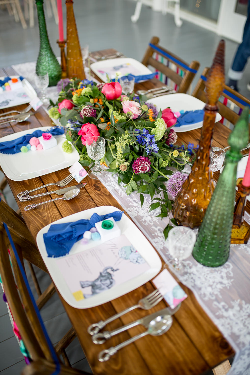 Plate Place Setting Pom Pom Napkin Colourful Balloons Wedding Ideas Florence Berry Photography