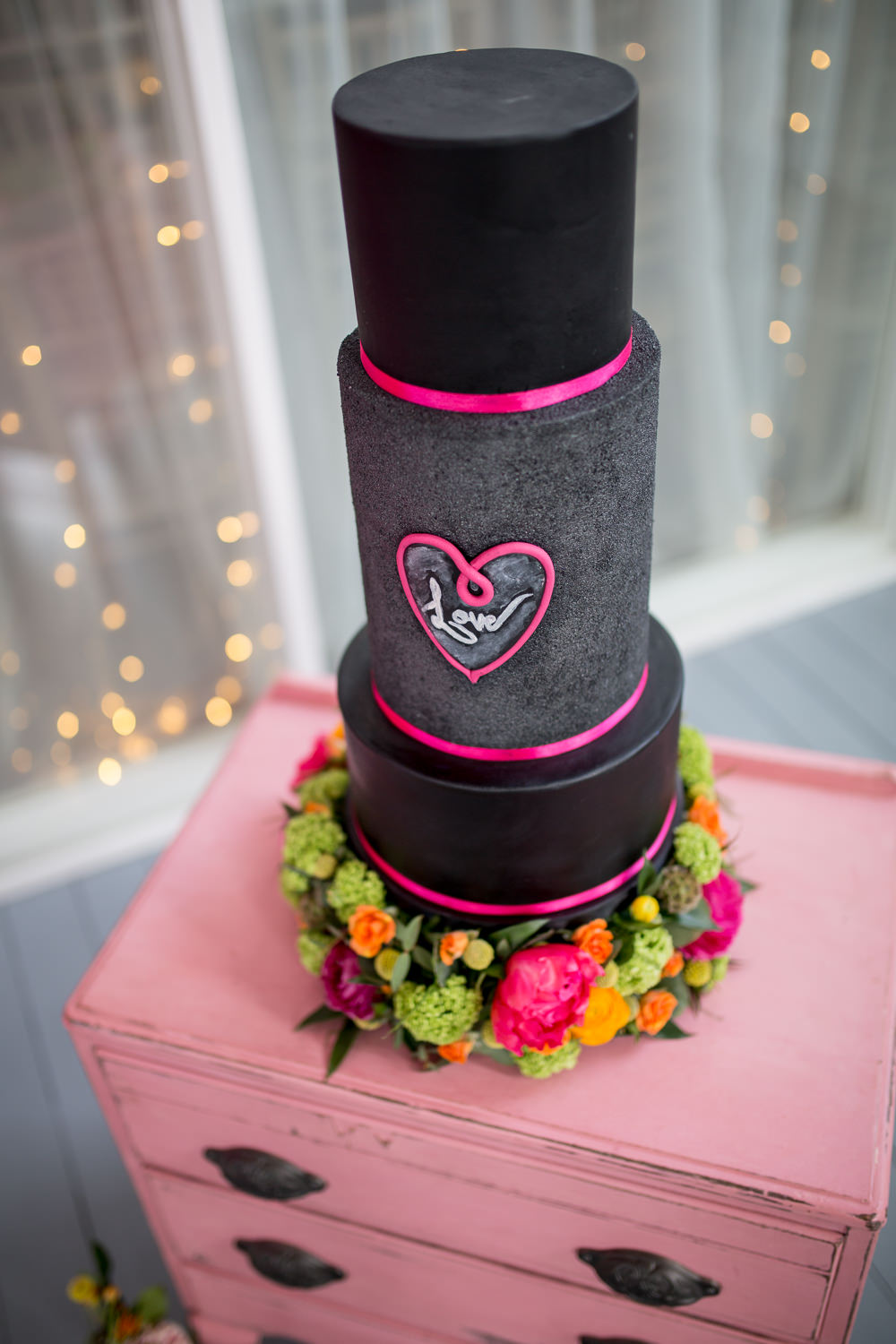 Cake Black Pink Chalk Flowers Vintage Dresser Drawers Colourful Balloons Wedding Ideas Florence Berry Photography