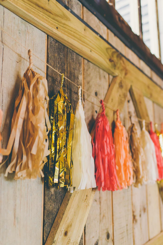 Tassel Garland Decor Decoration High Billinghurst Farm Wedding Larissa Joice Photography