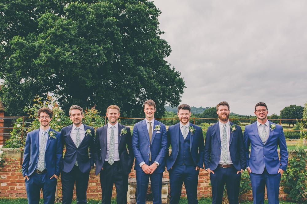 Groom Groomsmen Suit Blue High Billinghurst Farm Wedding Larissa Joice Photography