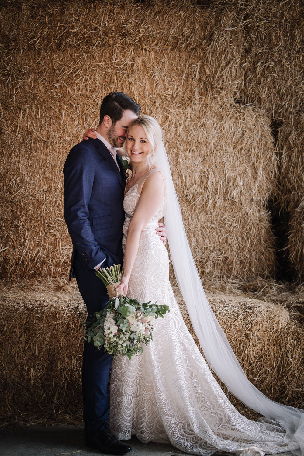 Dress Gown Bride Bridal Made With Love Bridal Train Veil Fit Flare Owen House Wedding Barn Nessworthy Photography
