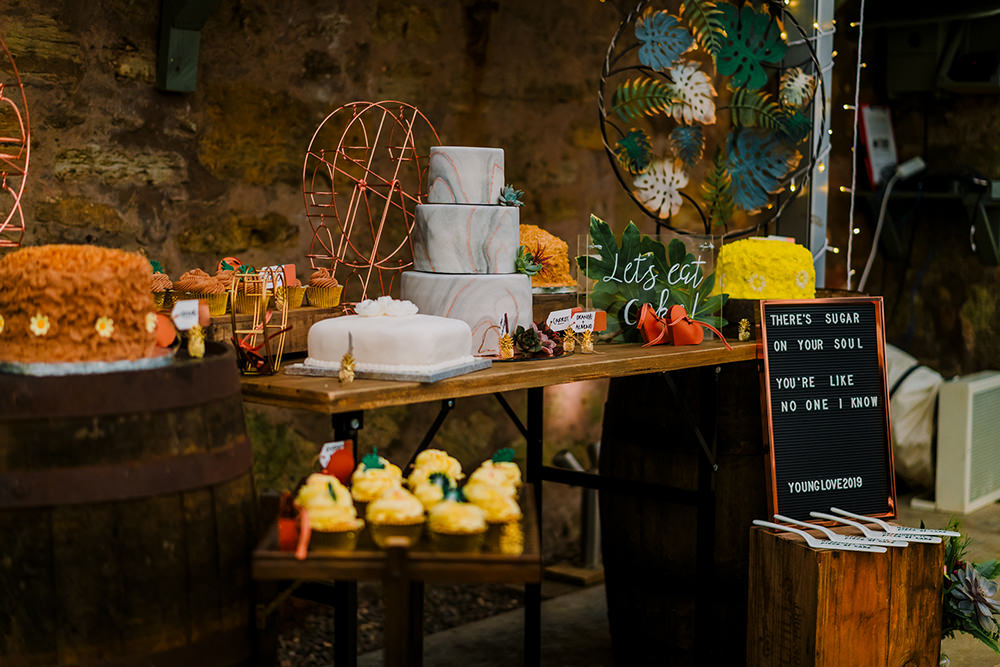 Cake Table Marble Tiered Succulents Tropical Luxe Wedding Burfly Photography