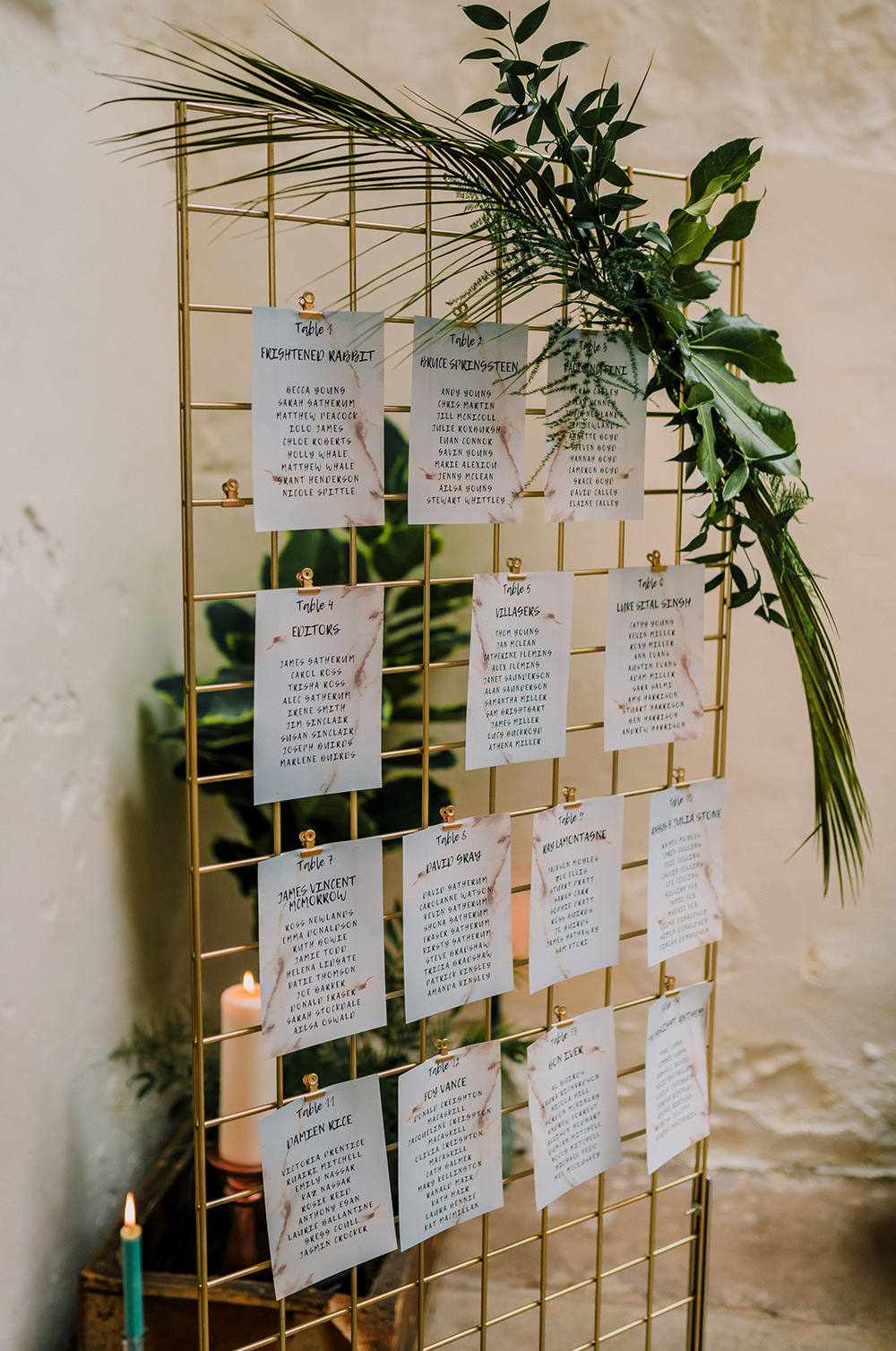 Table Plan Wire Mesh Greenery Succulent Tropical Luxe Wedding Burfly Photography