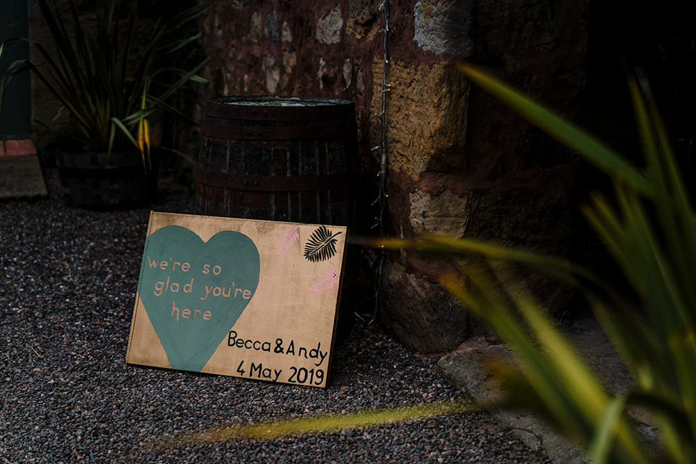 We're So Glad You're Here Welcome Sign Tropical Luxe Wedding Burfly Photography