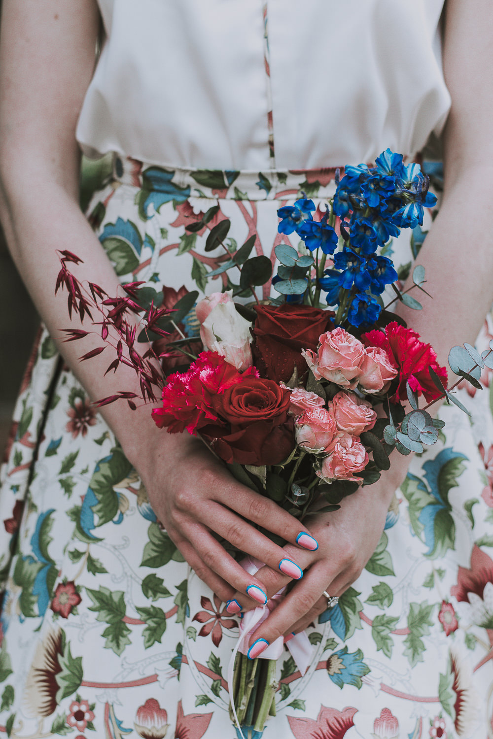 Bouquet Flowers Bridesmaid Red Pink Blue Rose Wes Anderson William Morris Wedding Ideas Jessica Hill Photography
