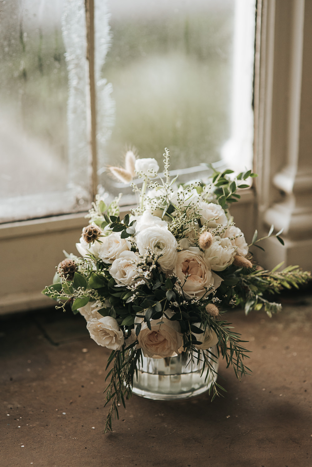 Bouquet Flowers Bride Bridal White Roses Greenery Foliage Ranunculus Wollaton Hall Wedding Pear and Bear Photography