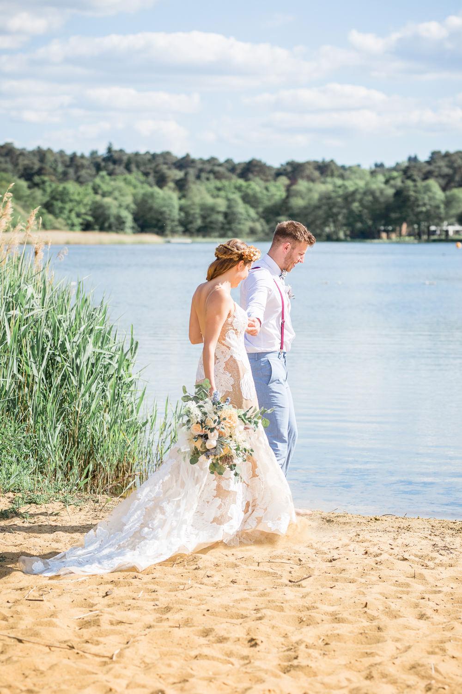 Bride Bridal Dress Gown Lace Underlay Train Floral Boho Beach Wedding Ideas Sarah Hoyle Photography
