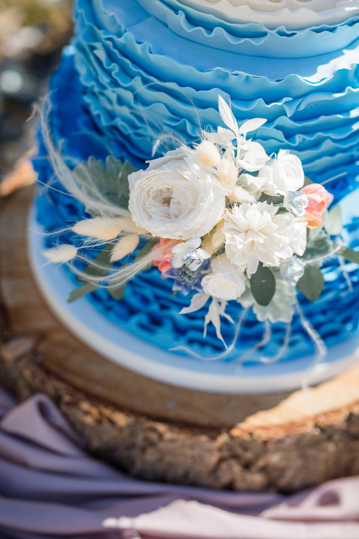 Blue White Ombre Ruffle Cake Flowers Boho Beach Wedding Ideas Sarah Hoyle Photography