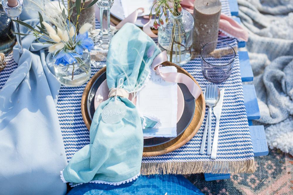 Place Setting Napkin Place Name Shell Glass Acrylic Perspex Boho Beach Wedding Ideas Sarah Hoyle Photography