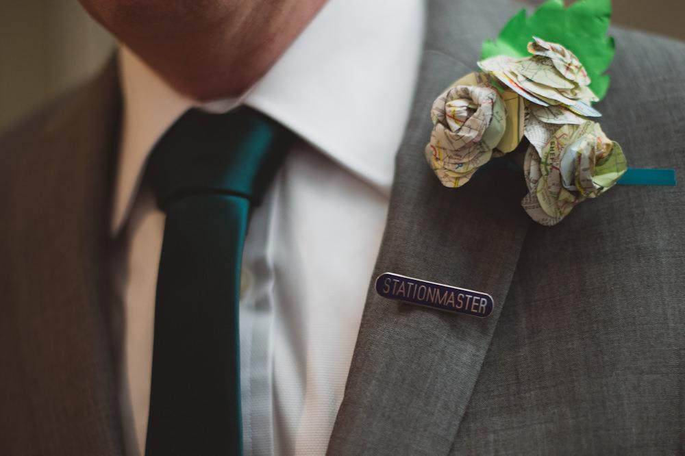 Paper Flower Buttonhole Groom Book Literature Buckinghamshire Railway Centre Wedding Sasha Weddings