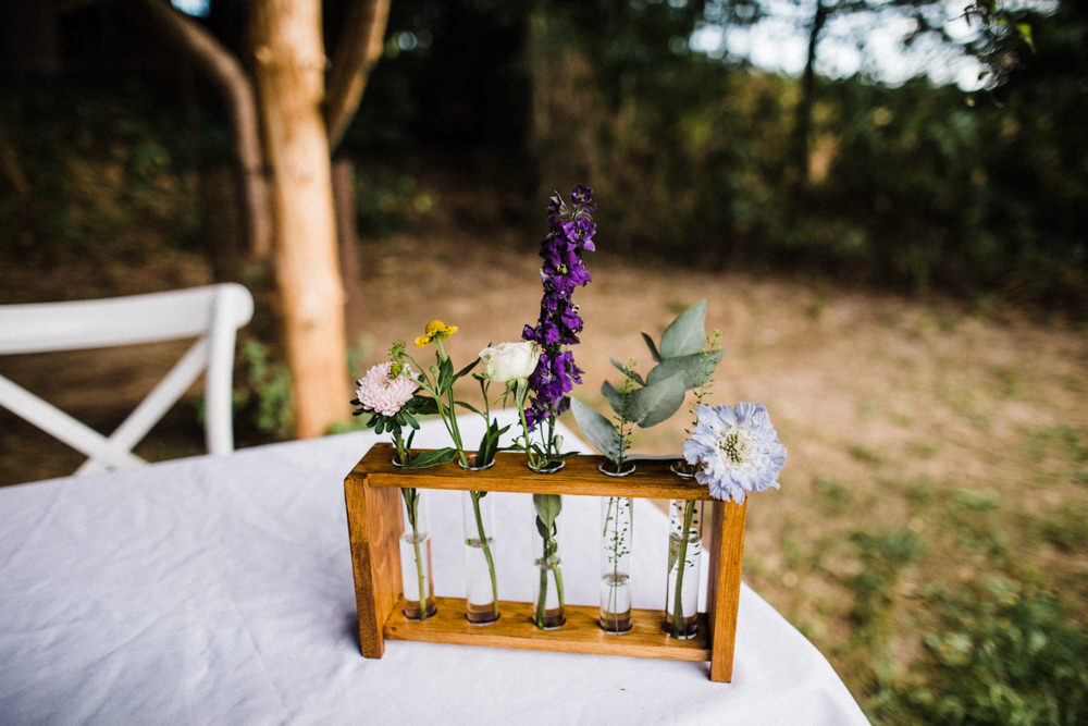 Test Tube Holder Flowers Florals Chaucer Barn Wedding Through The Woods We Ran