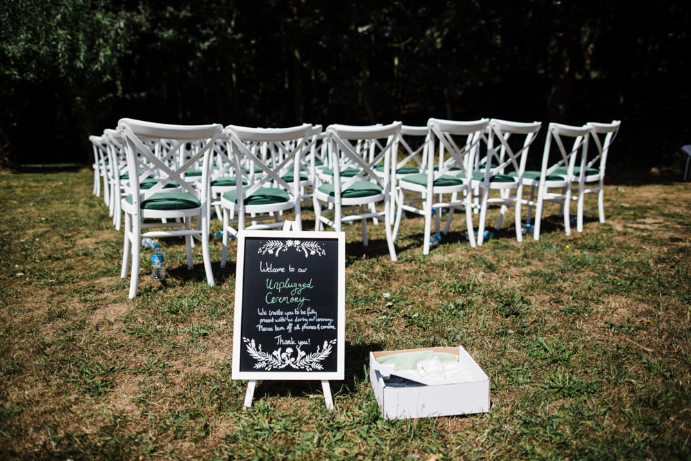 Unplugged Ceremony Sign Chaucer Barn Wedding Through The Woods We Ran