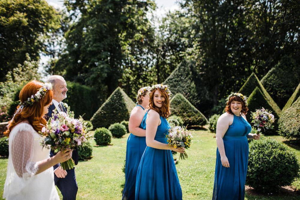 Bride Bridal Boho Cape Wedding Dress Gown Flower Crown Blue Halterneck Bridesmaids Chaucer Barn Wedding Through The Woods We Ran