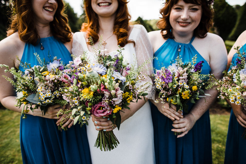 Bride Bridal Bridesmaids Wildflower Bouquets Chaucer Barn Wedding Through The Woods We Ran