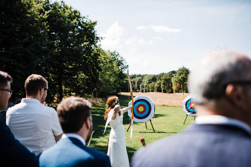 Bride Bridal Archery Drinks Reception Chaucer Barn Wedding Through The Woods We Ran