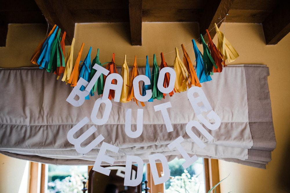 Taco Bout A Wedding Tassled Sign Decor Chaucer Barn Wedding Through The Woods We Ran