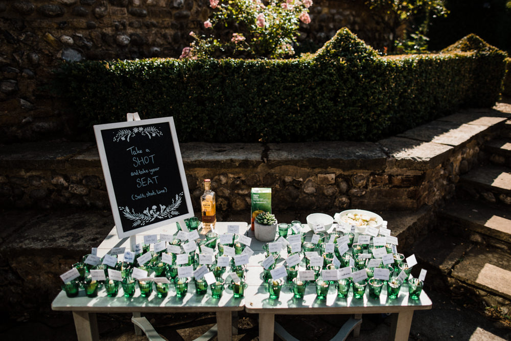 Take a Shot Escort Cards Mexican Chaucer Barn Wedding Through The Woods We Ran