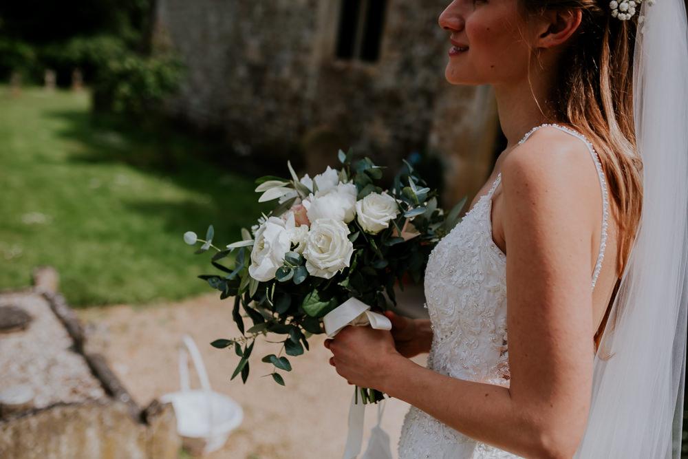 Bouquet Flowers Bride Bridal Rose Peony Eucalyptus DIY Village Hall Wedding PhotoBart