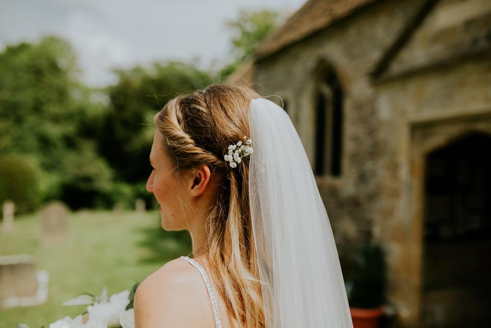 Bride Bridal Hair Style Long Flowers Veil DIY Village Hall Wedding PhotoBart