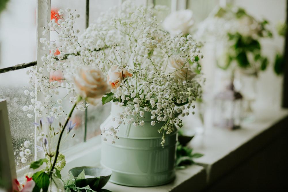 Milk Churn Flowers Gypsophila DIY Village Hall Wedding PhotoBart