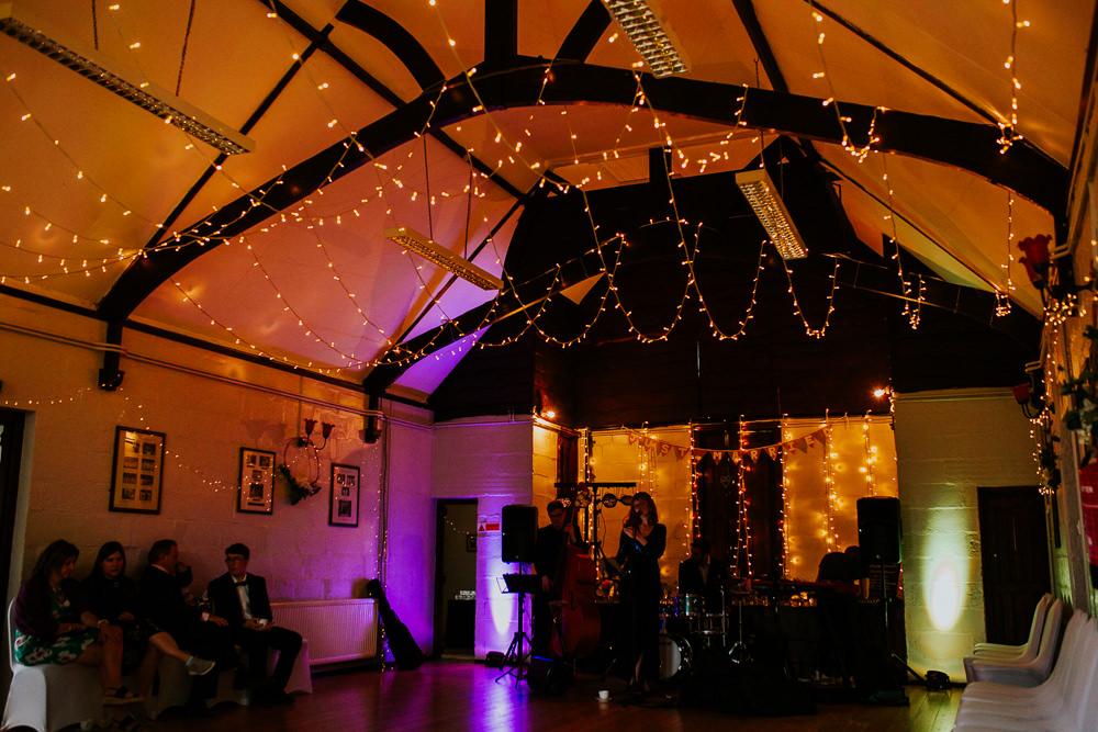 Fairy Light Canopy DIY Village Hall Wedding PhotoBart