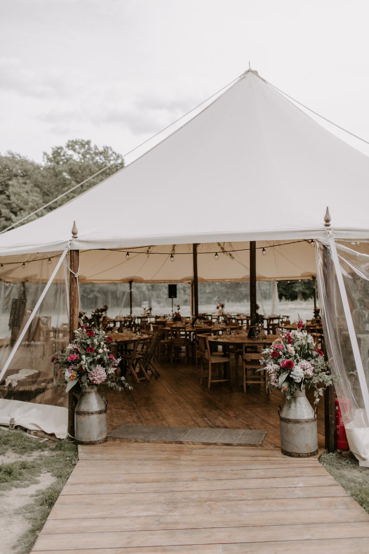 Pole Tent Marquee Flowers Milk Churns Dreys Wedding Grace & Mitch Photo & Film
