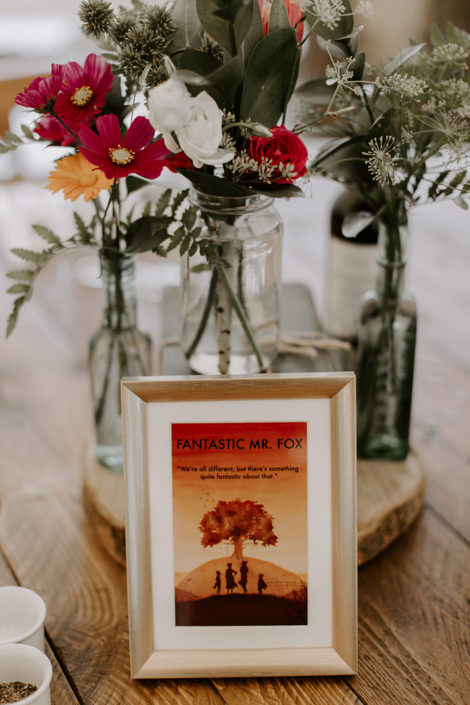 Table Name Frame Table Flowers Centrpiece Dahlias Bottles Log Slice Dreys Wedding Grace & Mitch Photo & Film