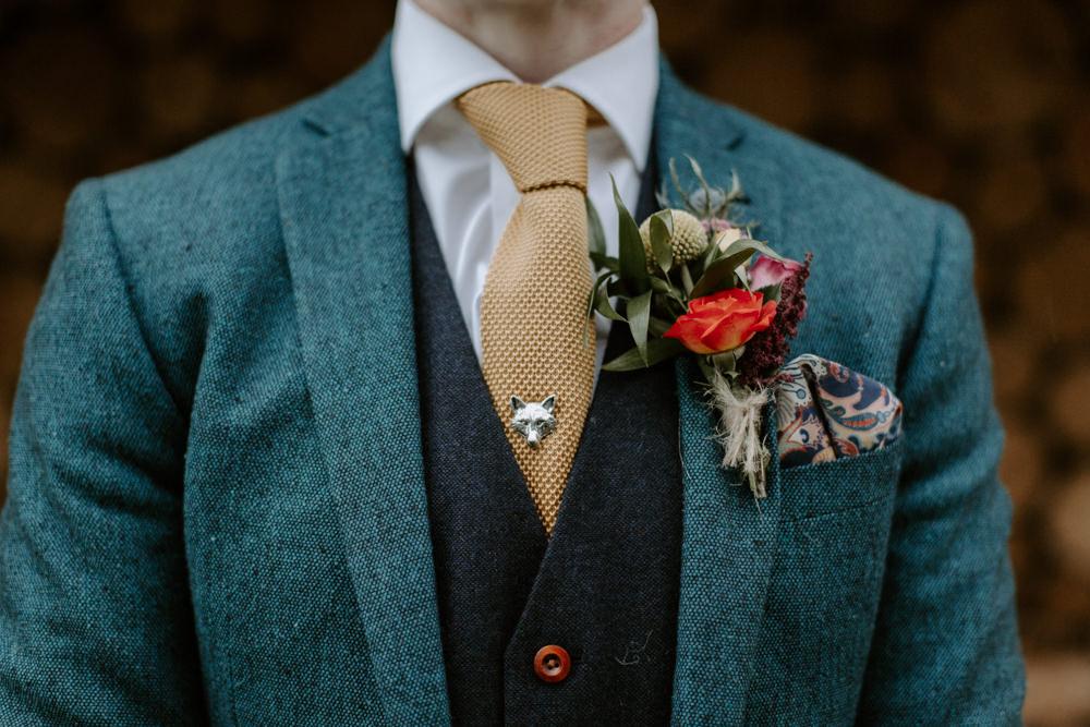 Groom Groomsmen Suit Tan Shoes Mustard Yellow Ties Fox Pin Buttonhole Flowers Dreys Wedding Grace & Mitch Photo & Film