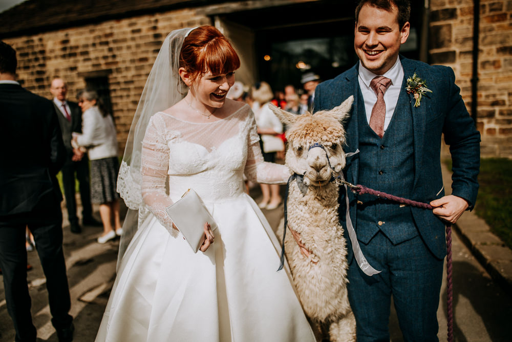 Bride Bridal Full Skirt Lace Long Sleeve Dress Gown Blue Tweed Suit Groom Veil Alpaca East Riddlesden Hall Wedding M and G Photographic