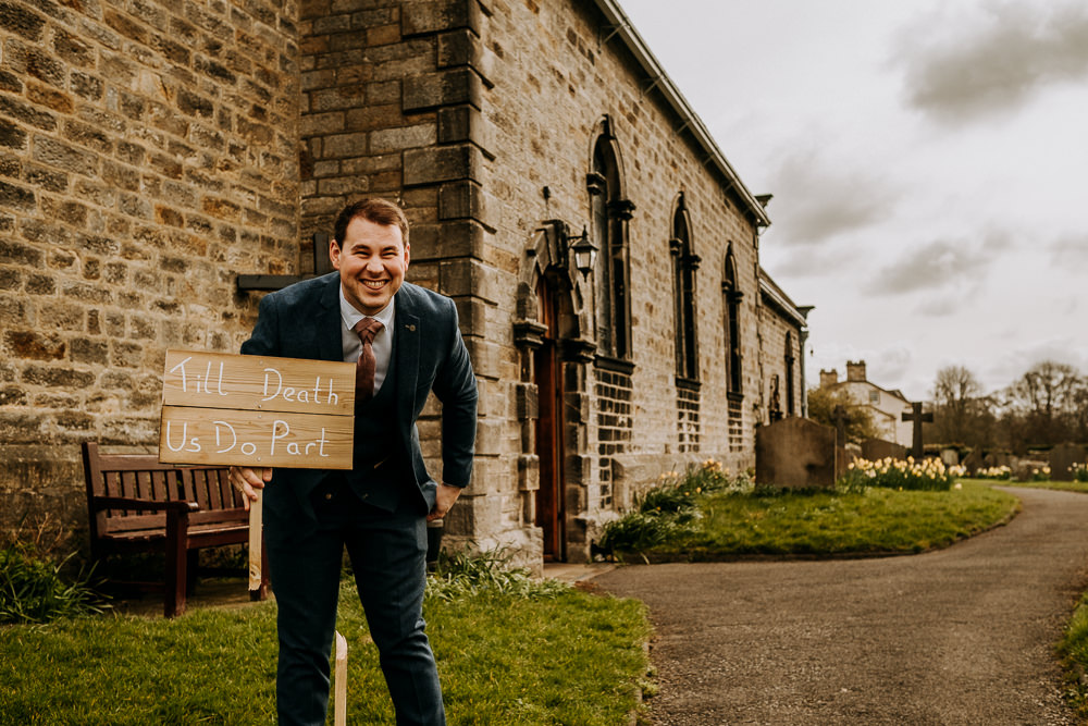 Till Death Do Us Part Sign Groomsman East Riddlesden Hall Wedding M and G Photographic