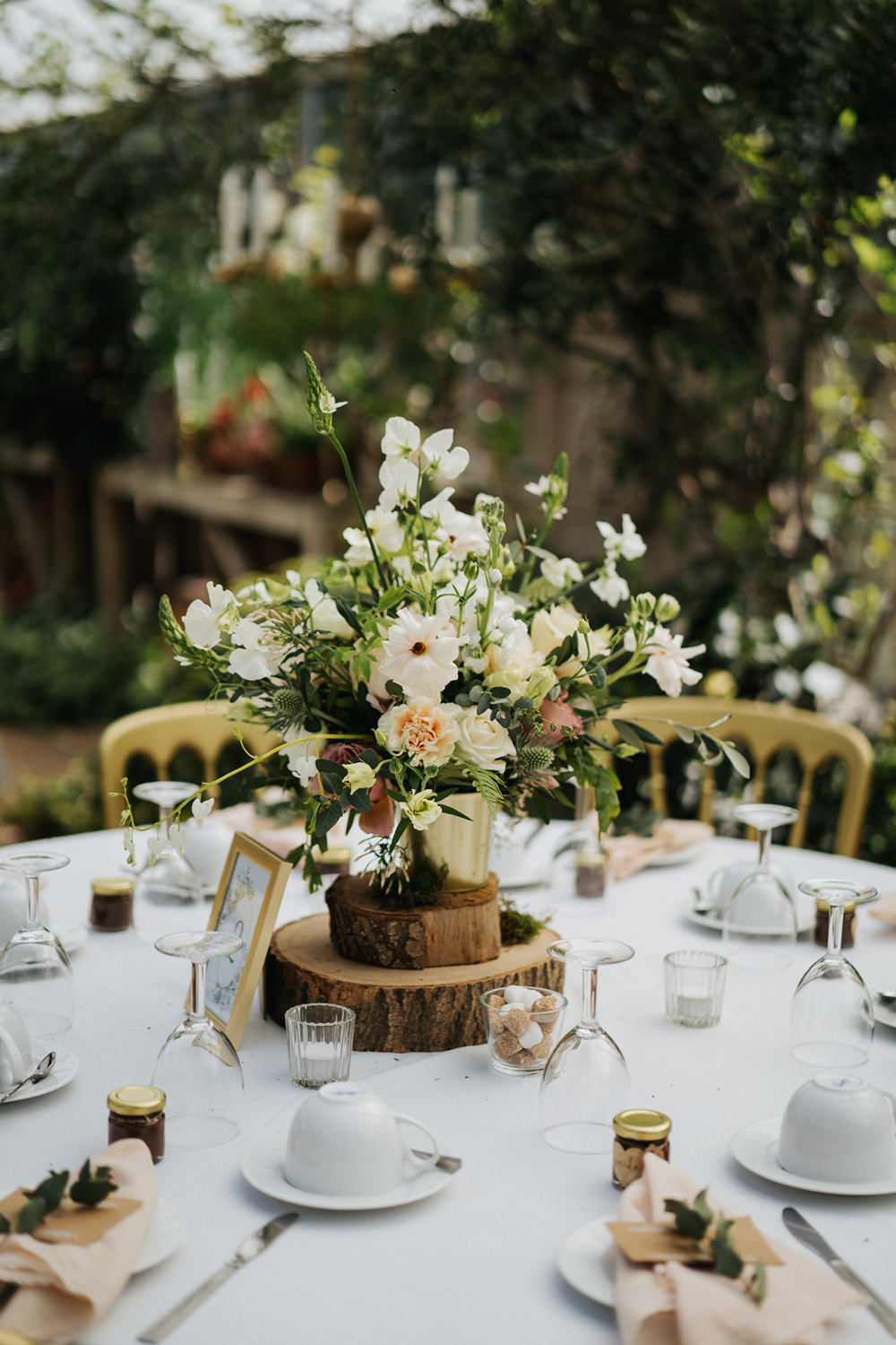 Table Flowers Centrepiece Decor Log Slice Greenhouse Wedding Kit Myers Photography