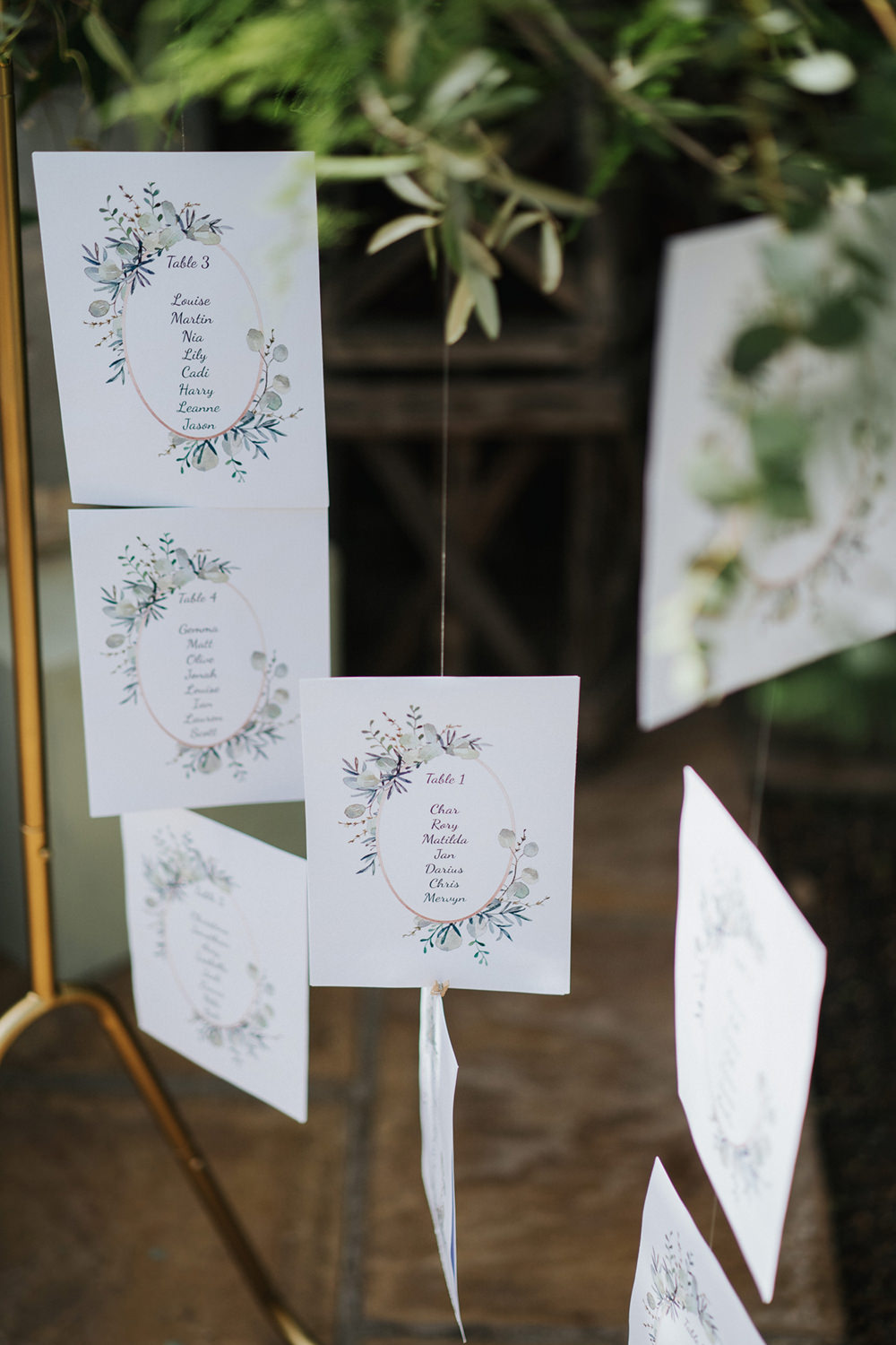 Seating Plan Table Chart Gold Frame Hanging Suspended Greenery Foliage Greenhouse Wedding Kit Myers Photography