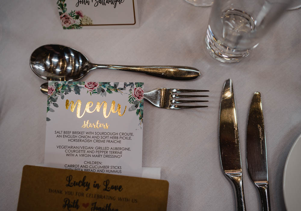 Place Setting Decor Menu Oxnead Hall Wedding Luis Holden Photography
