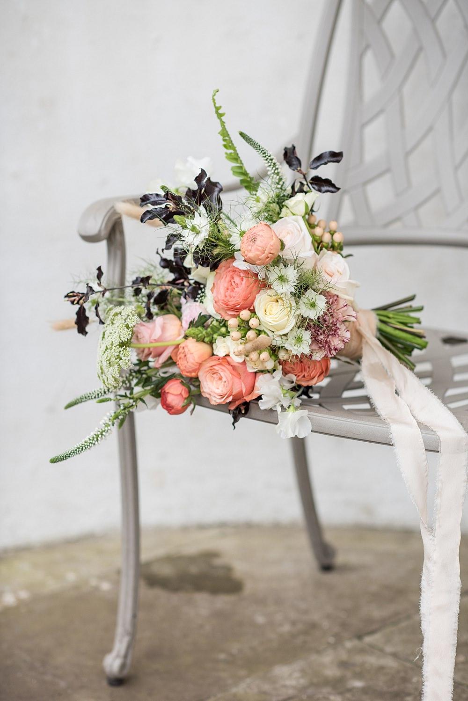 Bouquet Flowers Bride Bridal Ribbon Rose Nigella Peach Gold Wedding Ideas Jane Beadnell Photography