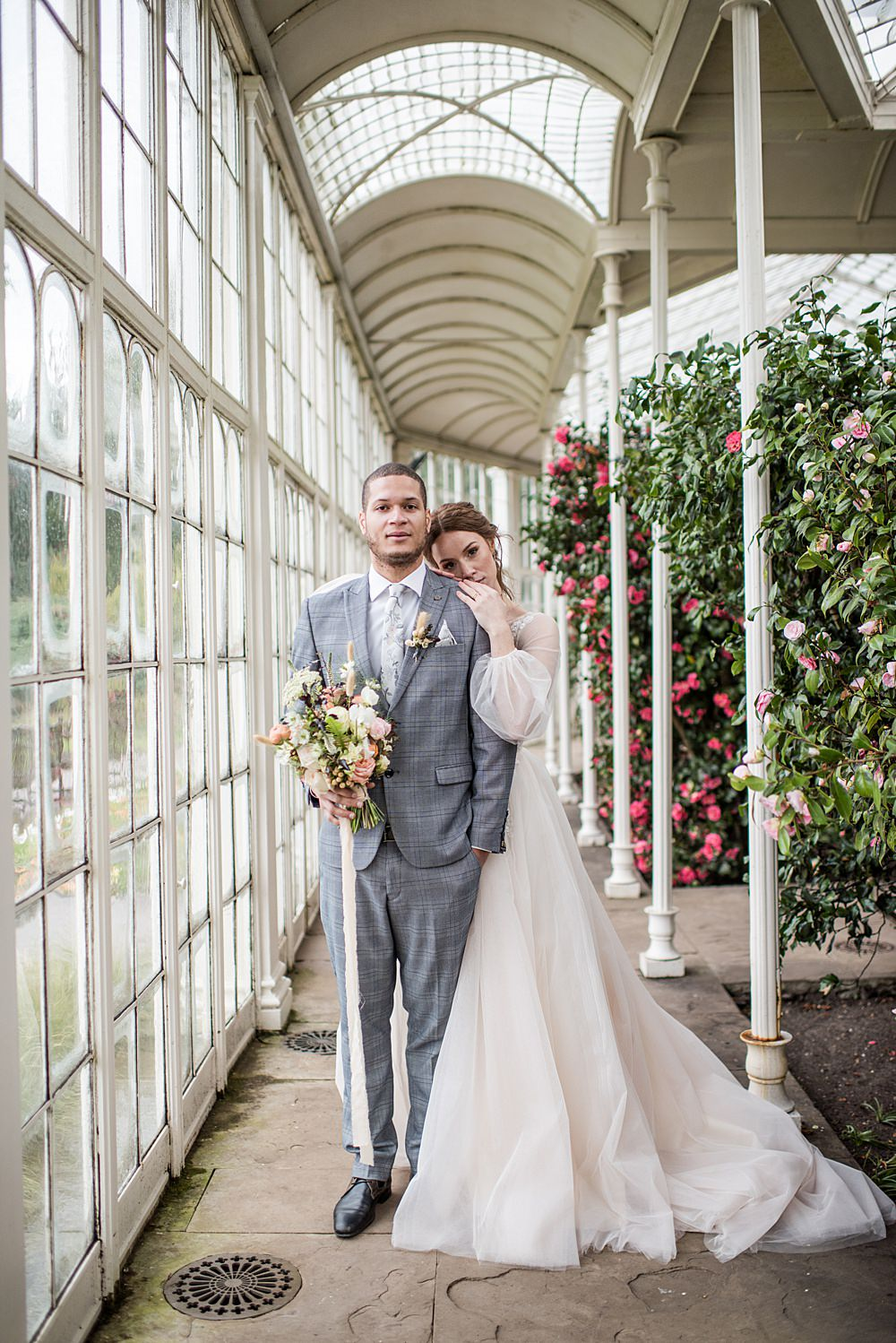 Groom Suit Grey Check Floral Tie Buttonhole Grass Peach Gold Wedding Ideas Jane Beadnell Photography