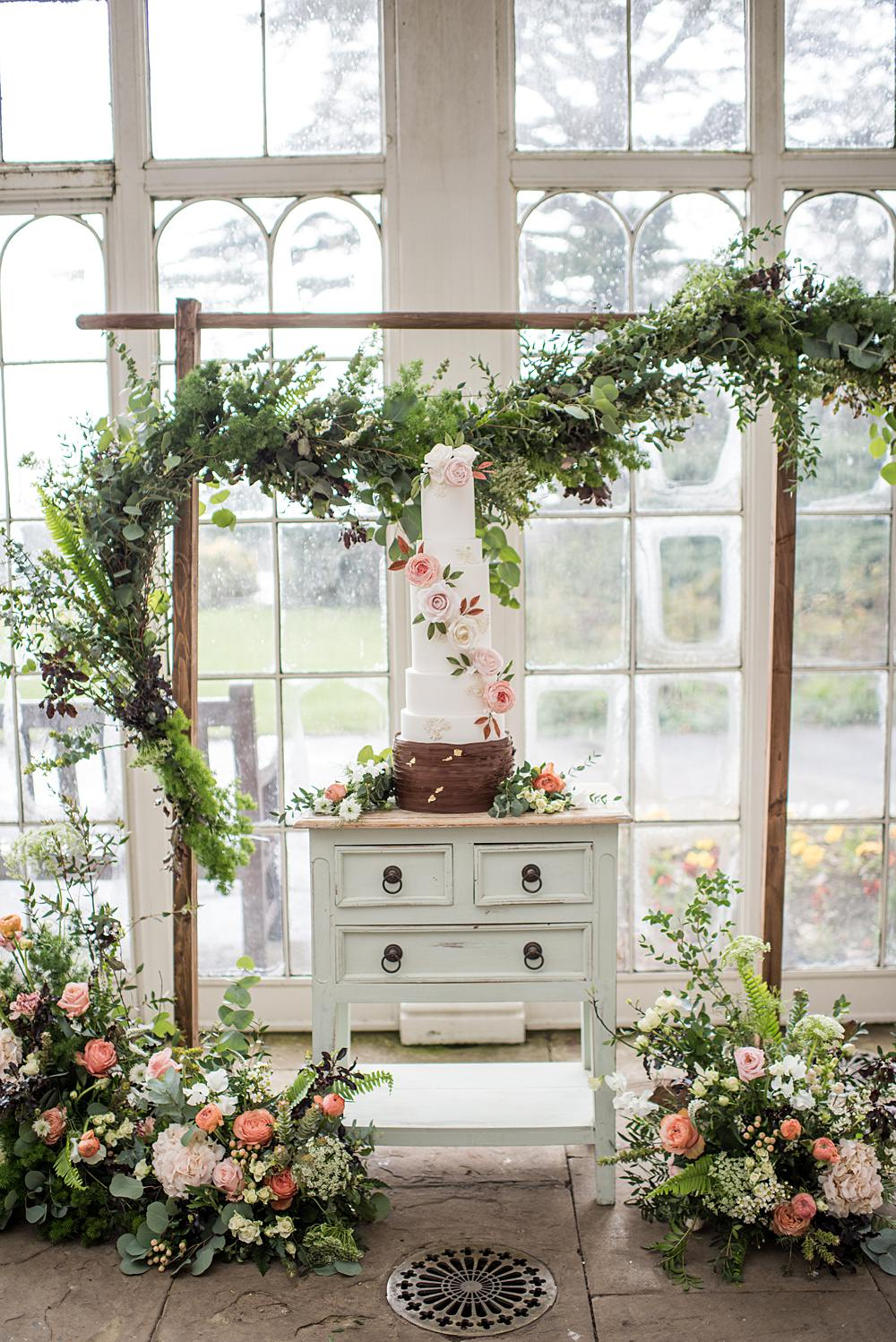 Cake Table Flower Arch Arbour Backdrop Greenery Foliage Dresser Peach Gold Wedding Ideas Jane Beadnell Photography