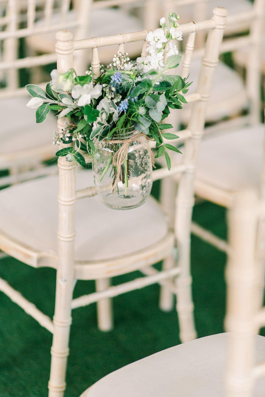 Chair Flowers Ceremony Aisle Jar Greenery Foliage Saltmarshe Hall Wedding Jessica Davies Photography