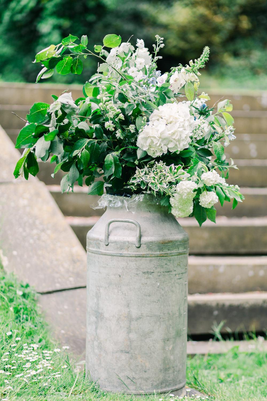 Milk Churn Flowers Ceremony Aisle Greenery Foliage Saltmarshe Hall Wedding Jessica Davies Photography