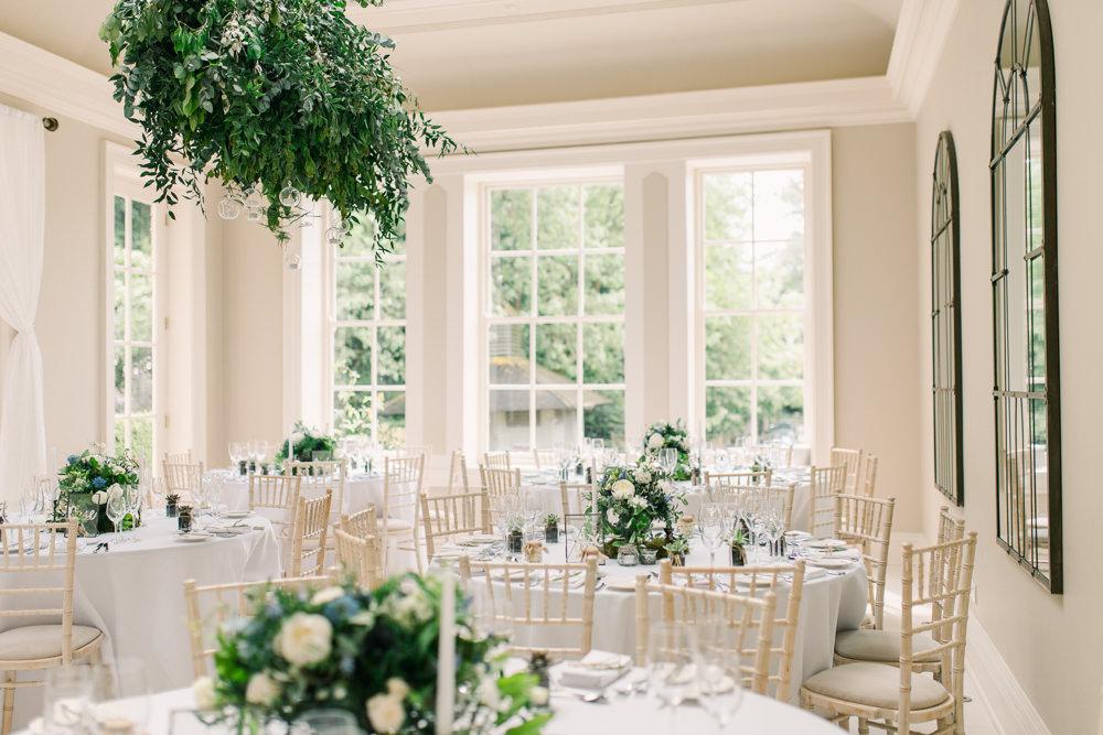 Hanging Foliage Greenery Cloud Suspended Floral Reception Room Decor Venue Decoration Saltmarshe Hall Wedding Jessica Davies Photography