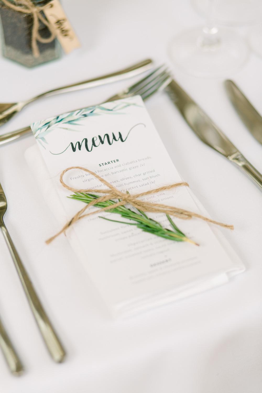 Botanical Menu Place Setting Twine Rosemary Saltmarshe Hall Wedding Jessica Davies Photography