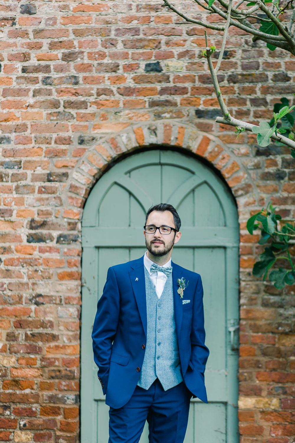 Groom Suit Navy Blue Waistcoat Bow Tie Saltmarshe Hall Wedding Jessica Davies Photography