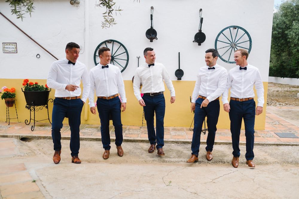 Groom Groomsmen Chinos Shirts Bow Ties Spain Destination Wedding Jesus Caballero Photography
