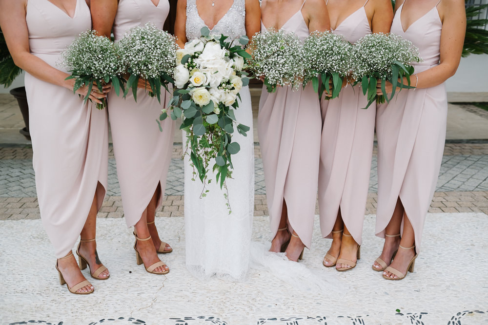 Bridesmaids Bridesmaid Dress Dresses Pink Midi Baby Breath Gyp Gypsophila Bouquets Flowers Spain Destination Wedding Jesus Caballero Photography