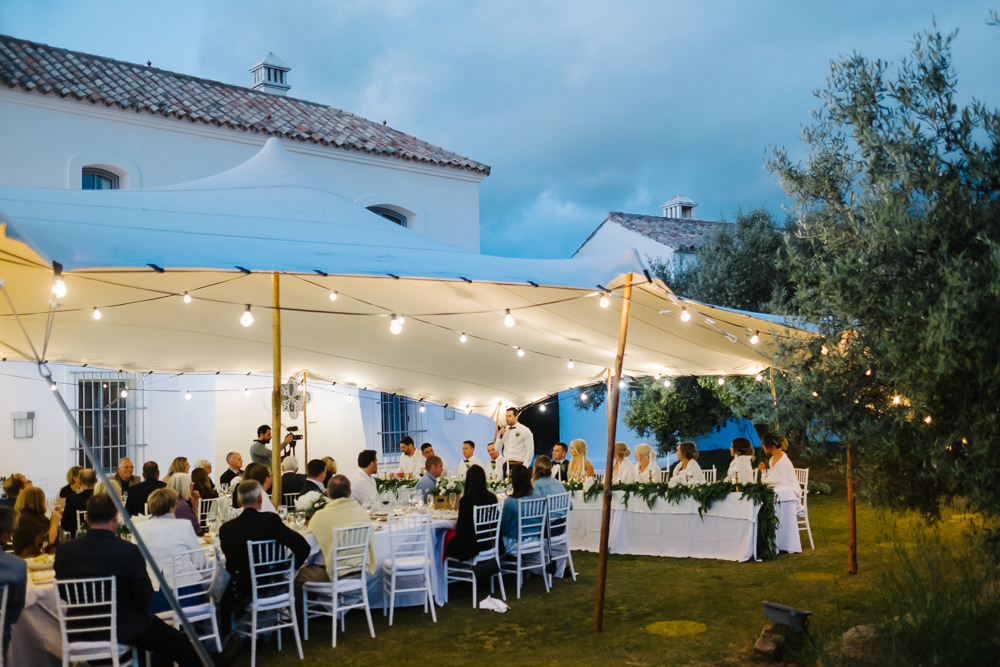 Open Side Stretch Tent Festoon Lights Lighting Spain Destination Wedding Jesus Caballero Photography