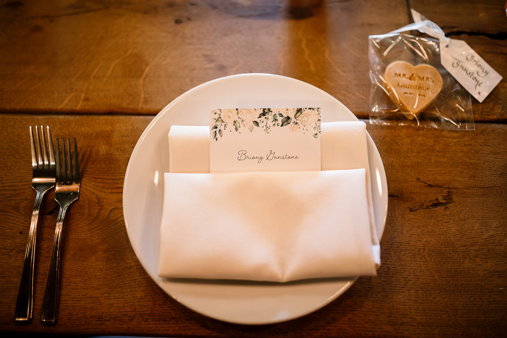 Place Setting Floral Menu Wharfedale Grange Wedding Hayley Baxter Photography