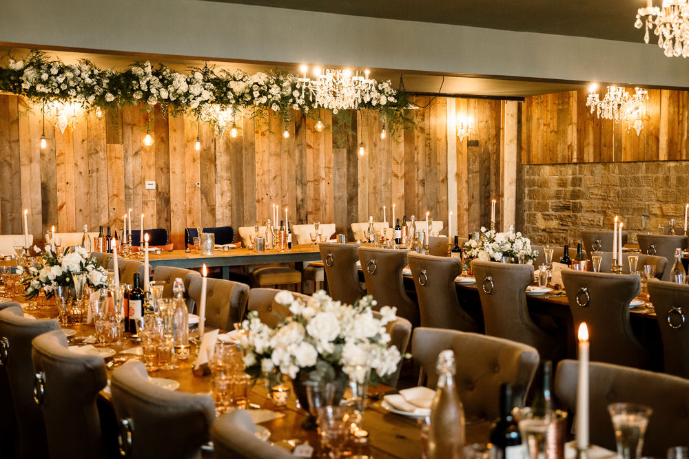 Chandeliers Reception Room Decor Decoration Long Tables Flowers Wharfedale Grange Wedding Hayley Baxter Photography